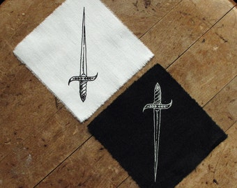 "Ace of Swords - 4x4"" Screen Printed Sew-On Art Patch"