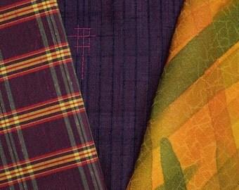 Vintage Japanese Kimono Fabric Bundle 3 Sleeve Mix Crafting - Early Autumn