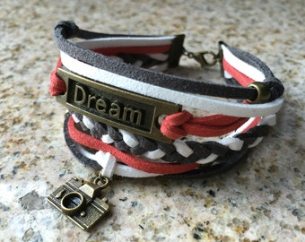 """Modern Unisex """"Dream"""" with Camera Faux Suede Cord Braided Bracelet - Red / White / Gray - Antique Bronze"""