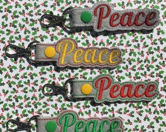 Peace Key Chain, Embroidered Key Fob, Keychain