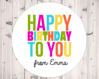 Personalized Stickers, Happy Birthday, Party Favor, Girl Birthday, Gift Tags, Birthday Favor Stickers - Set of 12