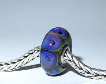 Luccicare Lampwork Bead - Purple -  Lined with Sterling Silver