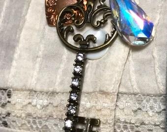 Crystal Teardrop, Key and Heart ,Altered Art Necklace,  handmade, OOAK, Bostoncharm