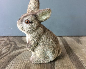 1950s Flocked Rabbit - Vintage Easter Bunny