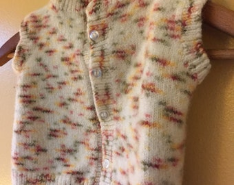 Vtg Handknit Felted Wool Baby Sweater . Rainbow beginnings and tiny Buttons