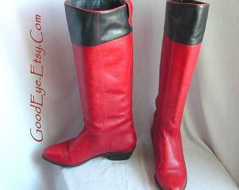 Ravishingly RED Riding Boots / Size 7 b  Eu 37 .5 UK 4 .5 / Two Tone 90s Flat Knee Boot / Black Accents STOVEPIPE made Brazil