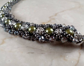 antiqued silver bracelet filligree crystals and glass pearls beaded  with metallic rhinestone closure