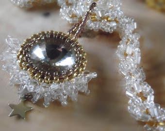 wedding  Crystal   Rivioli Rhinestone Necklace Brides Gatsby Necklace Handmade Beaded Jewelry