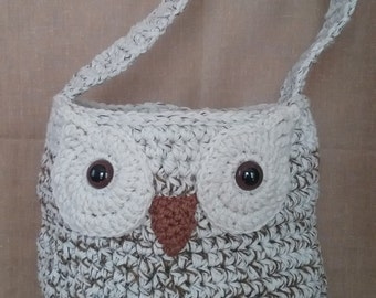 Crochet Owl Market Bag, Tote, Purse, Large with Shoulder Strap, Wool, Wool Blend