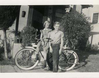 vintage photo 1948 Little Boy Little Girl New Bike Bicycle