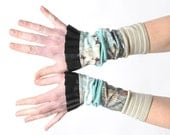 Green and black ruffled cuffs, Stretchy jersey patchwork cuffs with black ruffles, Gift for women, Womens accessories, Fun cuffs, MALAM