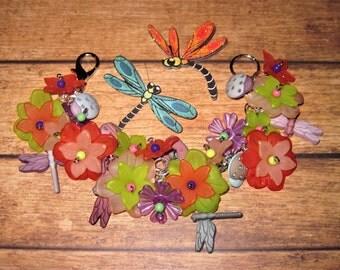 Dragonfly Bracelet, Flowers, Jewelry, Dragonfly, Bracelet, Ladybugs, Chunky, Spring, Summer, Charms, Beads, Handmade, Statement Piece, OOAK
