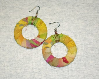 Fabric Wrapped Earrings Yellow Pink and Green Batik Eco Friendly