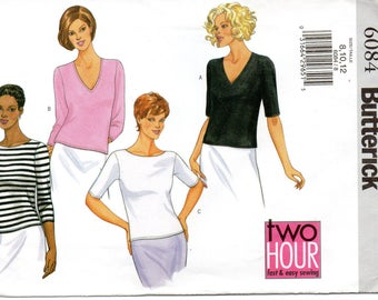 Butterick 6084 Misses Petite Top Uncut Pattern Size 8-10-12 Copyright 2001