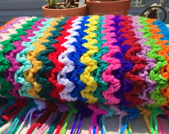 Double Yarn VStitch Multicolor Afghan 60 x 40
