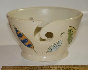 Hand Carved leaves hand thrown ceramic stoneware yarn Bowl