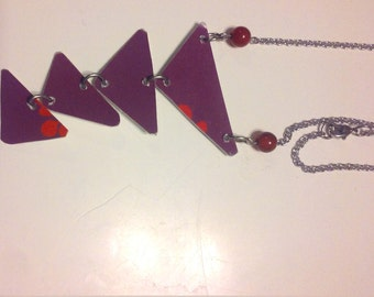 Purple Triangle Necklace...made from upcycled gift card!!