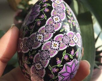 Magenta Circles Pysanka Batik Egg Art