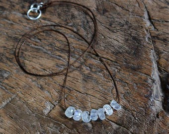 Rainbow Moonstone Necklace/Silk Cord Necklace/Moonstone Jewelry/Knotted Moonstone/Cord Jewelry/Spring Jewelry/Handmade Jewelry/Gift for Her