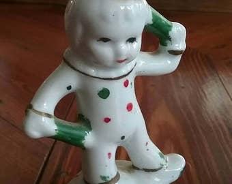 Japan Made 50s Ceramic Calico Clown
