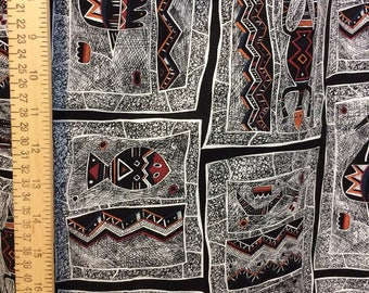 VINTAGE ethnic fabric Polynesian tribal fabric vintage Hoffman cotton