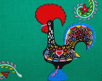 VINTAGE fabric Scandinavian Folk Art Rooster Mod cotton linen fabric table placemats 4 total