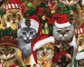 Stacked Holiday Cats - By Michael Searle - For Timeless Treasures - (C4471) -  One Yard - 7.95 Dollars