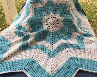 Blue and White Star Baby Afghan