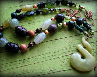 Green Infinity Jasper Power Energy Necklace - Statement Piece Tribal Boho Ethnic Big Bold Chunky Long 26 28 30 32 inches