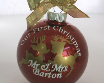 Our First Married Christmas Ornament, Newlywed Christmas Ornament, Just Married Ornament, First Christmas as Mr and Mrs.