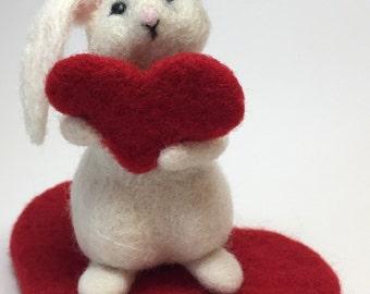 Valentine's Gift Needle Felted Rabbit Needlefelted Valentine Bunny Heart