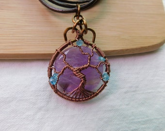 Tree of Life Amethyst Teal Apatite Beads Handcrafted Wire Wrapped Jewelry Pendant Vintage Bronze Antique Copper Parawire on Leather Cord