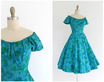 vintage 1950s custom made blue floral party dress |  50s Fannye's blue and green off-the-shoulder dress | vtg party dress | x-small