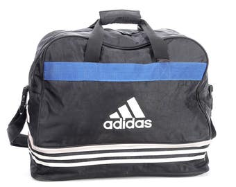 ADIDAS Gym Bag 80s Vintage Sports Luggage Travel Duffle Duffel Holdall Sports Active Street Wear Athletic Retro Overnight Case Navy Blue