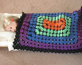 "Doll Afghan Blanket in Purple Blue Green Orange with Black Trim for 14"" to 18"" Dolls  16"" x 20"" Handmade for American Girl and Waldorf Dolls"