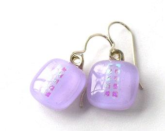 Little Lavender Lovelies - Petite Fused Glass Drop Earrings - Heather Mist - Lilac Drop Earrings - Sweet Violet Earrings