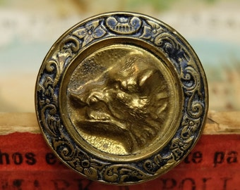 Antique Button Boar or Pig Brass Pictoral Extra Fein Sporting Button