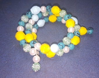 BRIGHT YELLOW & BLUE Memory Wire Bracelet One Size Fits All