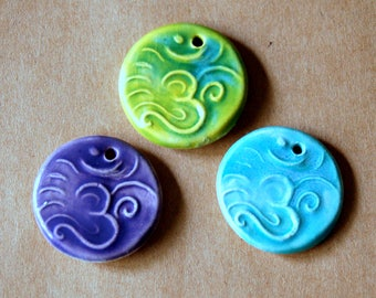 3 Ceramic beads - Om Pendants in Spring Colors  - Handmade Jewelry Supplies - Ancient Namaste symbol for Meditation - Yoga Jewelry Supplies