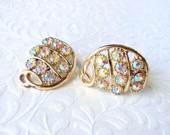 Aurora Borealis Rhinestone Clip Back Earrings Vintage Costume Jewelry AB Gold Wedding Bridal Formal Pageant Ballroom Prom Amber Blue Green