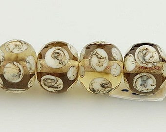 Light Brown Transparent with Silvered Ivory Polka Dots - Handmade Lampwork Glass Bead Set by Lara