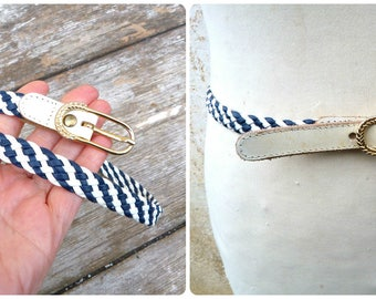 Vintage 1970s /70s  braided white & blue belt leather/ golden buckle