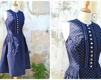 Vintage 1970/70s Austria trachten dirndl folk Prairie dress navy blue tiny floral calico size S