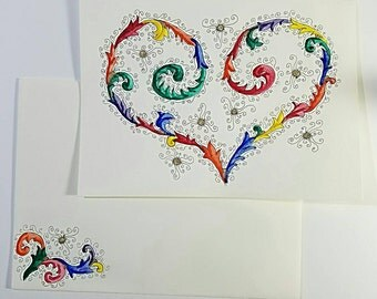 Multicolored Florentine-Style Hand-drawn Heart Greeting Card and Envelope