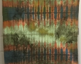 Hand Dyed Fabric - Blue Green CARROT Orange - 1 yard -  Modern Shibori Cotton - 343