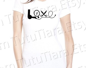 Love Hair Styling Tools Graphic Tee Black and White T-shirt for girls, teens, women