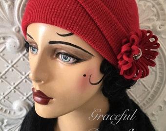 Red Floral Skull Cap
