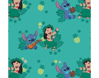 NEW Disney Fabric- Lilo and Stitch collection- Ohana on turquoise, Camelot, yard