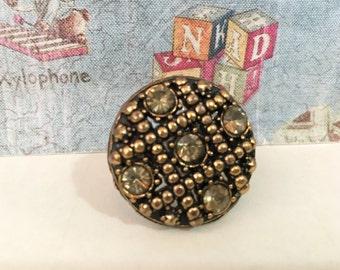 Tic-Tac-Toe Vintage Rhinestones Ring
