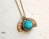 Turquoise Sunrise Artifact Pendant- Handmade Turquoise and Sterling and 14k GF Pendant